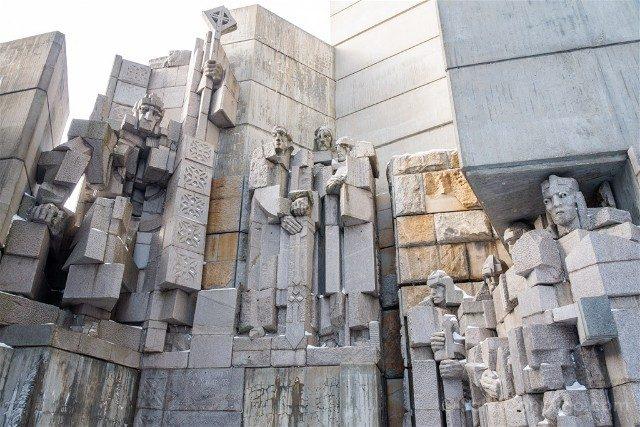 Monumento Fundadores Estado Bulgaro Shumen Kan Simeon Grande Cerca