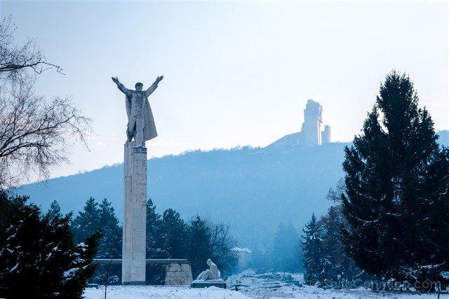 Monumento Fundadores Estado Bulgaro Vista Shumen Estatua