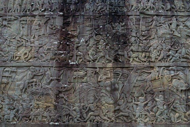 Templos de Angkor Thom Bayon Relieve Batalla