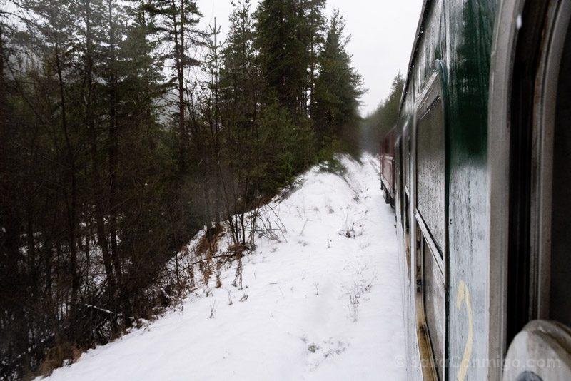 Tren a Bansko Paisaje Nieve Vagon