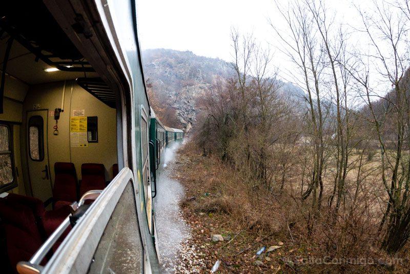Tren a Bansko Paisaje Vagon Ojo Pez