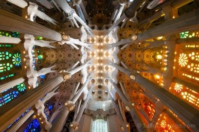 Sagrada Familia Barcelona Interior Techo Nave Central Ojo Pez