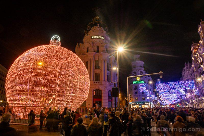 Navidad Madrid Bola Gran Via Alcala