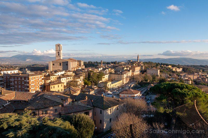 Vista panorámica de Perugia desde los jardines Carducci