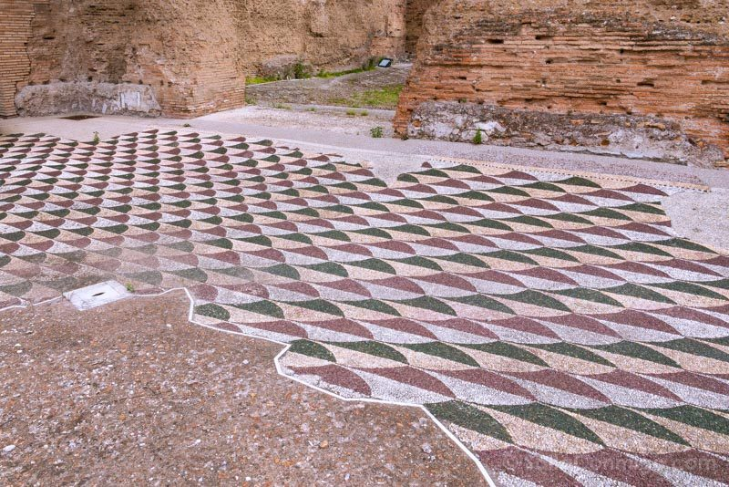 Termas De Caracalla Roma Edificio Principal Gimnasio Oriental Mosaico Suelo