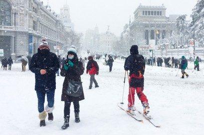 Filomena Esquiando Cibeles