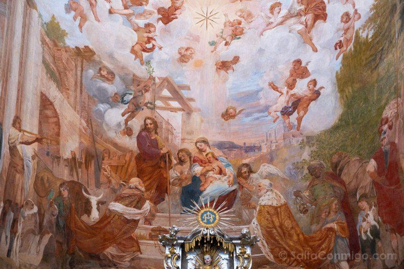 Abadia Krzeszów Polonia Iglesia San Jose Fresco Adoracion Reyes