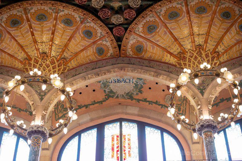 Visita Palau de la Musica Catalana Sala Conciertos Detalle Palmera